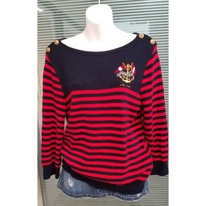 Lauren Crest and Stripe Nautical Sweater